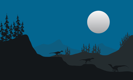 behemoth: Eoraptor at the night scenery with moon at the night