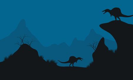 stegosaurus: Landscape of Stegosaurus in hills at the night