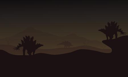 stegosaurus: At night Stegosaurus in hills scnery silhouette a very beautiful
