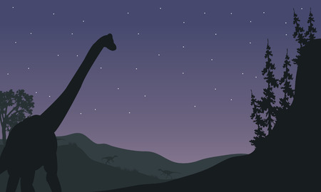 black giant mountain: Silhouette of one Brachiosaurus at night with star
