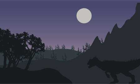 Silhouette of one Allosaurus in fields at the night Иллюстрация