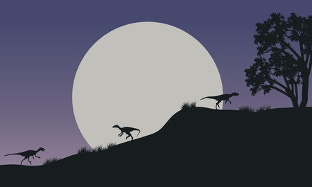 At night Eoraptor in hills scnery silhouette with full moon