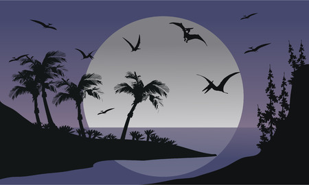 pterodactyl: Silhouette of Pterodactyl flying in sea at the night Illustration