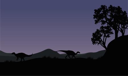 vertebrates: Silhouette of two Iguanodon in the fields Illustration
