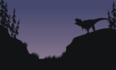 Tyranosaurus en colinas scnery silueta en la mañana