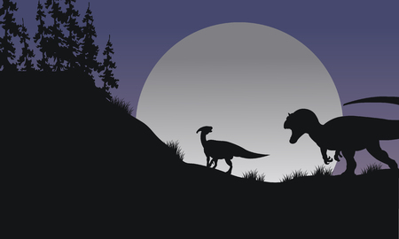 Silhouette of Parasaurolophus and Allosaurus at the night Иллюстрация