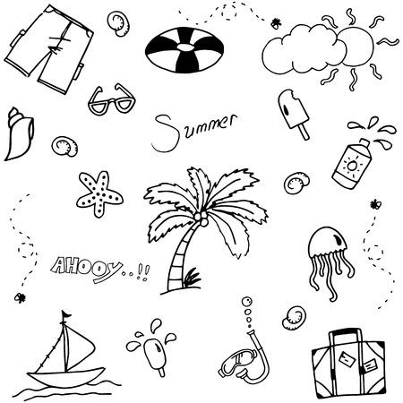 valise: Set Summer doodle vector art black and white