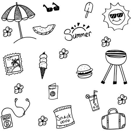 Summer set happy picnic doodle vector art Vektorové ilustrace