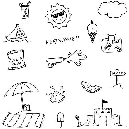 valise: Doodle of set beach vector art illustration