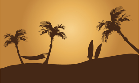 summer holiday: Happy summer holiday silhouette with broown backgrounds