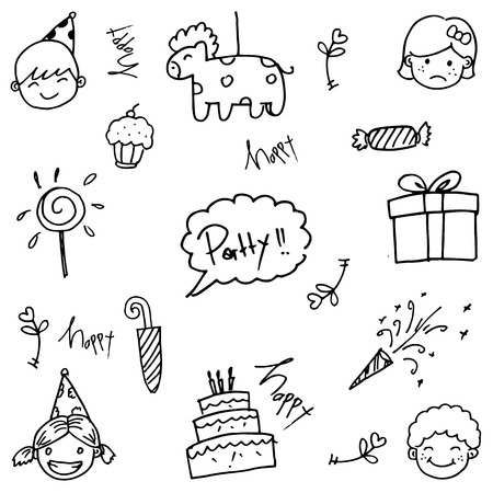 childs birthday party: Party of doodle vector art for kids