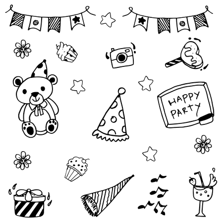 childs birthday party: Cute doodle party vector art for kids