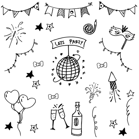 childs birthday party: Party set doodle vector art black and white Illustration