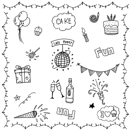 childs birthday party: Birthday Party doodle vector art black and white Illustration