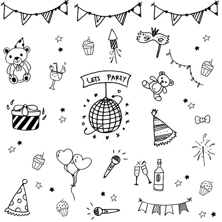 childs birthday party: Birthday set doodle art collection vector illustration