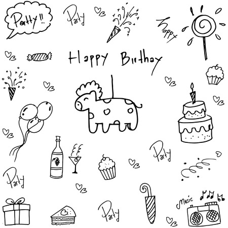 childs birthday party: Doodle of birthday party vector art illustration Illustration