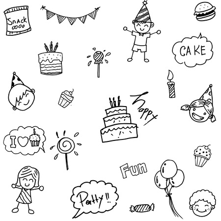 child's: Childs birthday party set doodle vector art