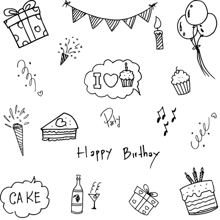 childs birthday party: Set doodle birthday party vector art illustration Illustration