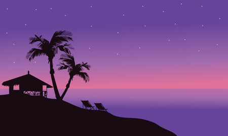 beach hut: Silhouette of hut in beach at summer beautiful scenery Illustration