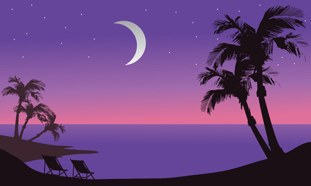 retro sunrise: At night beach scenery silhouette with Crescent moon Illustration