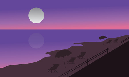beach sunset: Silhouette of beach at summer holiday at the night Illustration