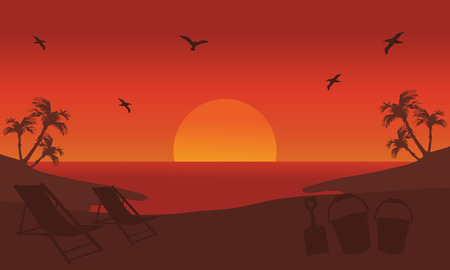 sunset beach: Orange backgrounds silhouette beach at summer sunset Illustration