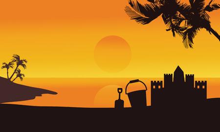 sand castle: Silhouette of sand castle summer in seaside at the sunrise Illustration