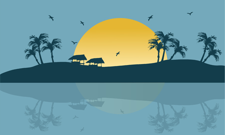 marine scene: Summer holiday backgrounds scenery silhouette in islands Illustration
