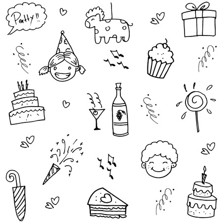 birthday party kids: Birthday doodle party for kids on white backgrounds Illustration