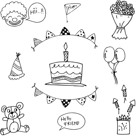 birthday party kids: For kids doodle birthday party element vector