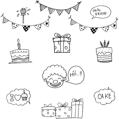 birthday party kids: Doodle vector for kids birthday party flat