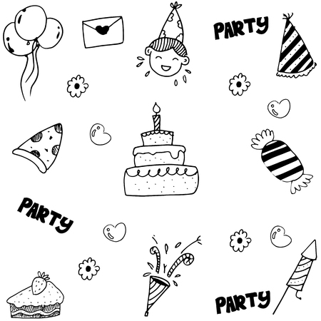 birthday party kids: Doodle for kids birthday party vector illustration Illustration