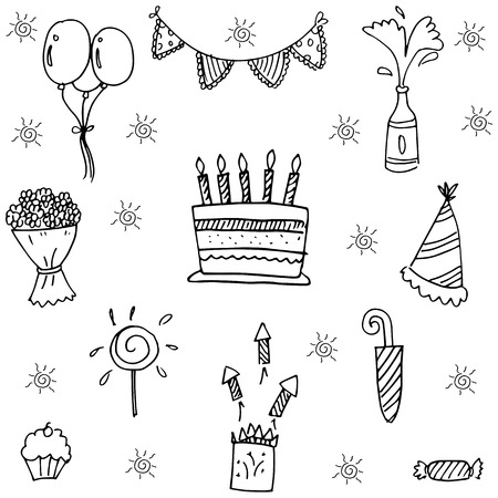 birthday party kids: Party for kids birthday doodle vector art illustration Illustration