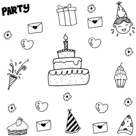 balck and white: Element kids party doodle vector balck and white backgrounds Illustration