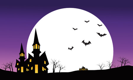 necropolis: Halloween castle at night scenery silhouette vector