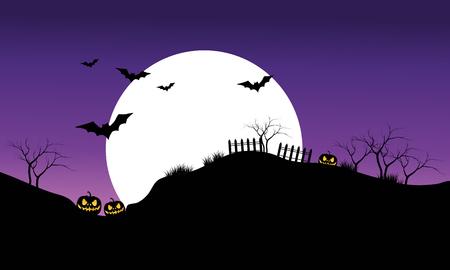 necropolis: Halloween bat on purple sky backgrounds silhouette vector