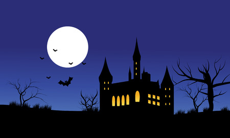 castle silhouette: Silhouette of castle Halloween and full moon with blue backgrounds