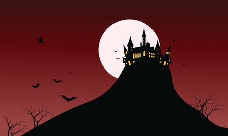 necropolis: Silhouette of Castle Halloween in hills with red backgrounds