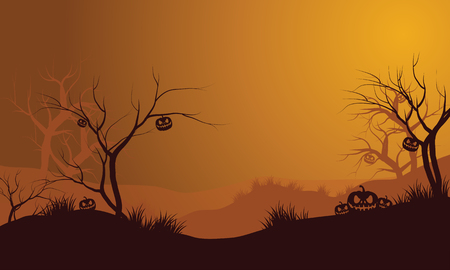 Halloween dry forest and pumpkins silhouette with orange backgrounds