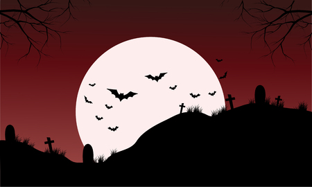 Silhouette of Tomb and bat Halloween with full moon 向量圖像