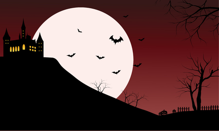 red sky: Silhouette of castle with full moon and red sky Illustration