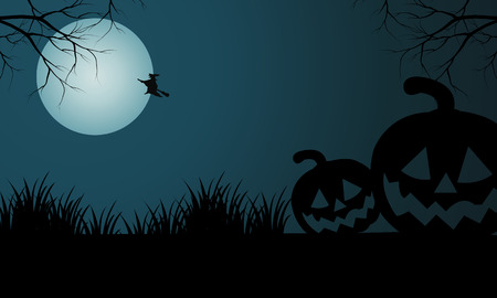 Silhouette of Halloween pumpkins and witch at night 向量圖像