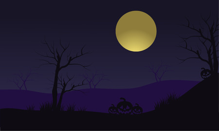 Halloween pumpkins and full moon silhouette at the night