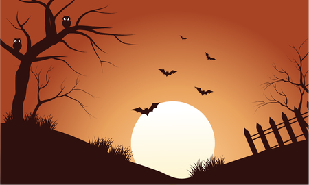 Scenery bat at afternoon silhouette a very beautiful Illustration