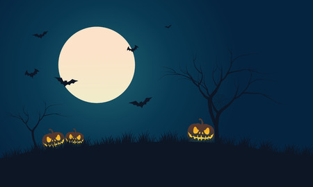 Pumpkins and bat at night scenery Halloween with full moon 矢量图像