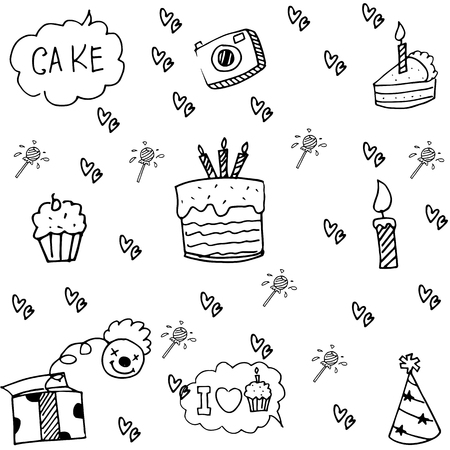 Element party doodle cute vector art illustration Ilustrace