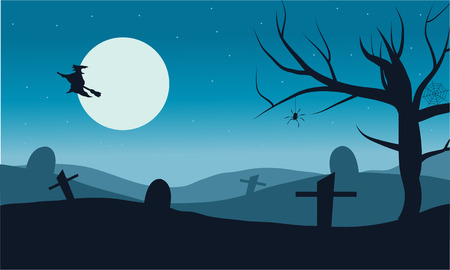 tomb: Silhouette of witch flying in tomb vector Halloween with full moon Illustration