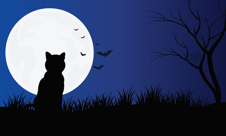 Silhouette of cat with full moon Hallowen scenery and bat