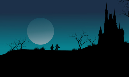moon  owl  silhouette: Castle and witch Halloween scary with blue sky