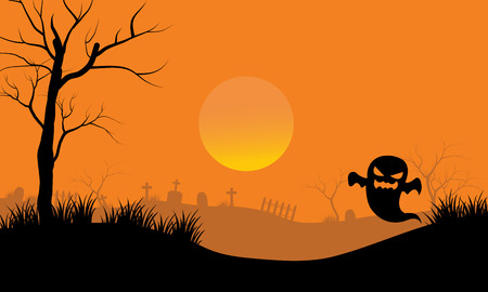 tomb: Ghost in tomb scary Halloween with oorange backgrounds